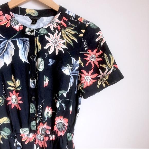 eccd908817f3 Ann Taylor Pants - Ann Taylor Navy Wild Flower Culotte Jumpsuit